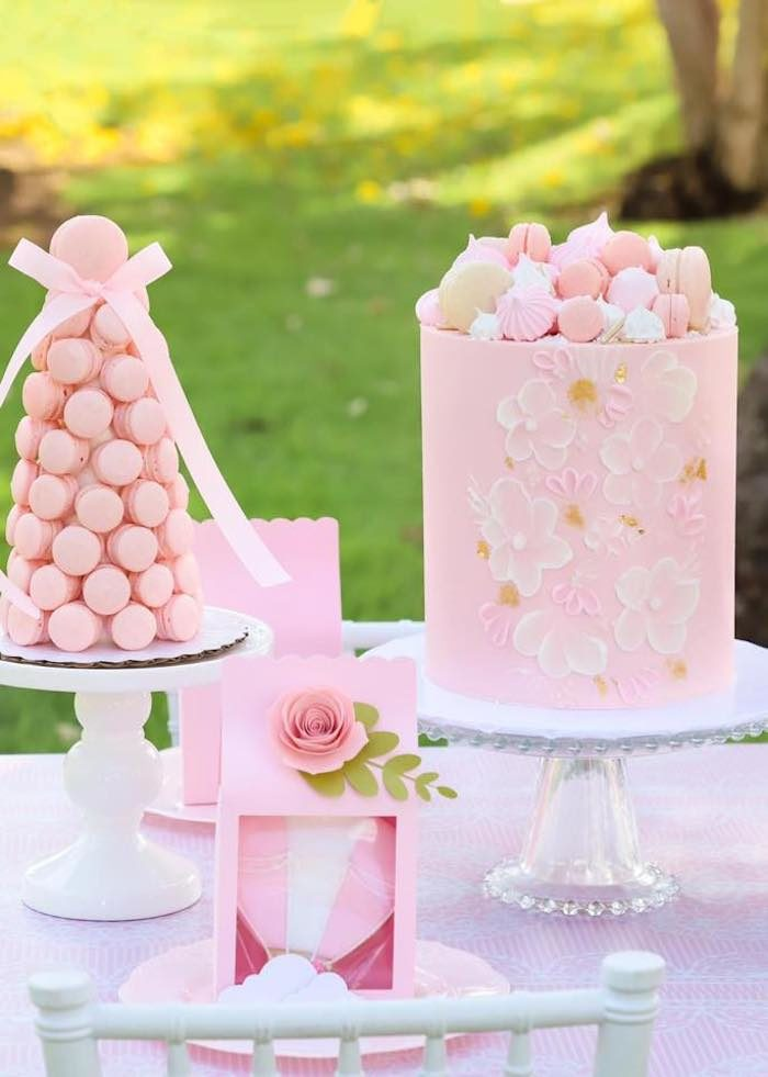 Pink Dessert Table from a Pink Hot Air Balloon Birthday Party on Kara's Party Ideas | KarasPartyIdeas.com