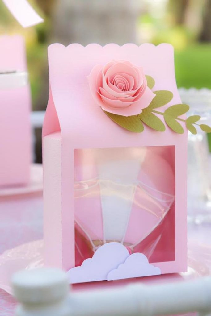 Rose Gift Bag with Hot Air Balloon Cookie Favor from a Pink Hot Air Balloon Birthday Party on Kara's Party Ideas | KarasPartyIdeas.com
