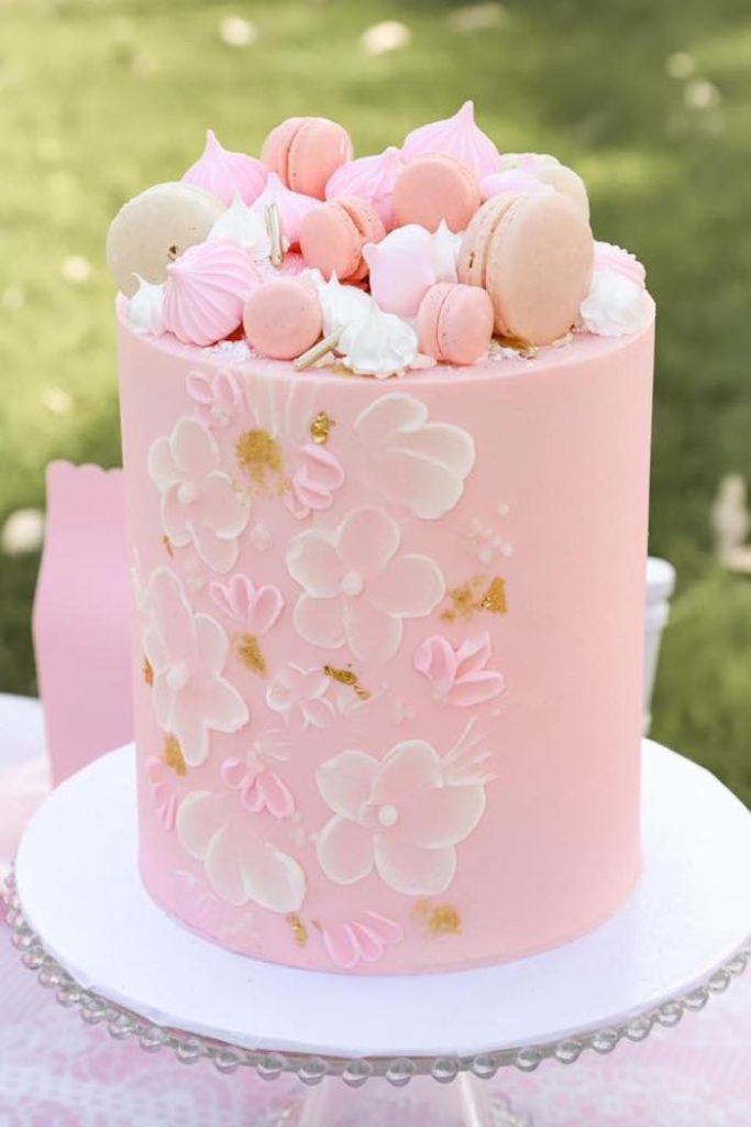 Macaron & Meringue-topped Cake from a Pink Hot Air Balloon Birthday Party on Kara's Party Ideas   KarasPartyIdeas.com