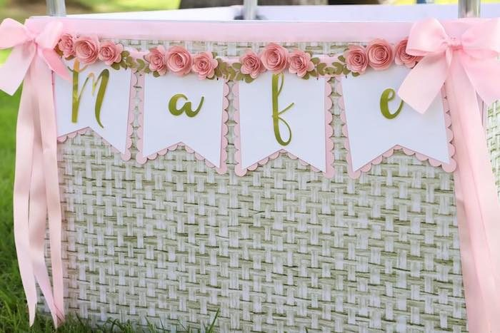 Floral Pink + White + Gold Name Banner from a Pink Hot Air Balloon Birthday Party on Kara's Party Ideas | KarasPartyIdeas.com