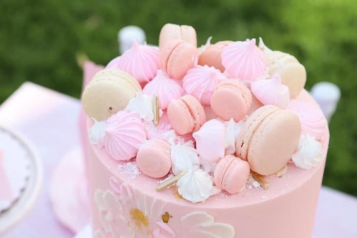 Macaron and Meringue Cake Top from a Pink Hot Air Balloon Birthday Party on Kara's Party Ideas   KarasPartyIdeas.com