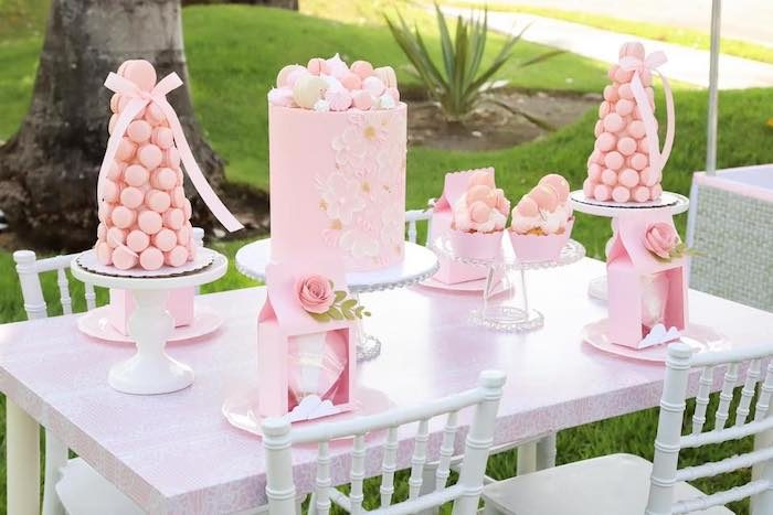 Pink & White Party/Dessert Table from a Pink Hot Air Balloon Birthday Party on Kara's Party Ideas | KarasPartyIdeas.com