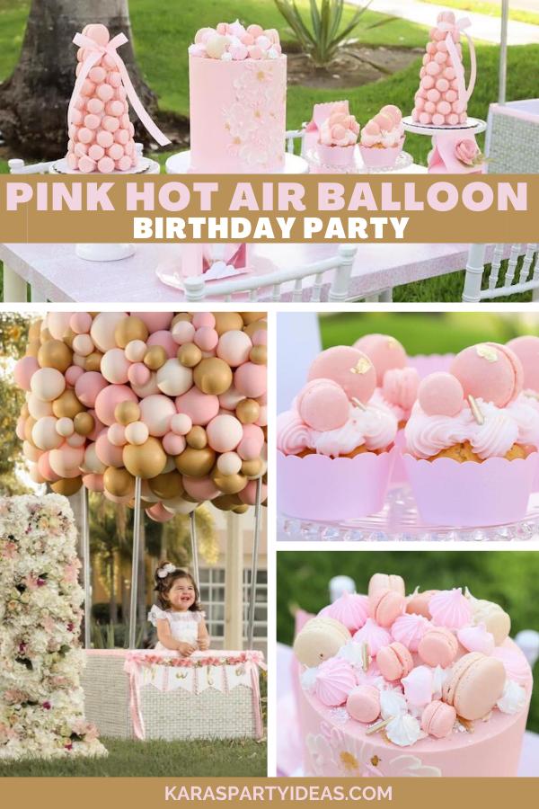 Pink Hot Air Balloon Birthday Party via Kara's Party Ideas - KarasPartyIdeas.com