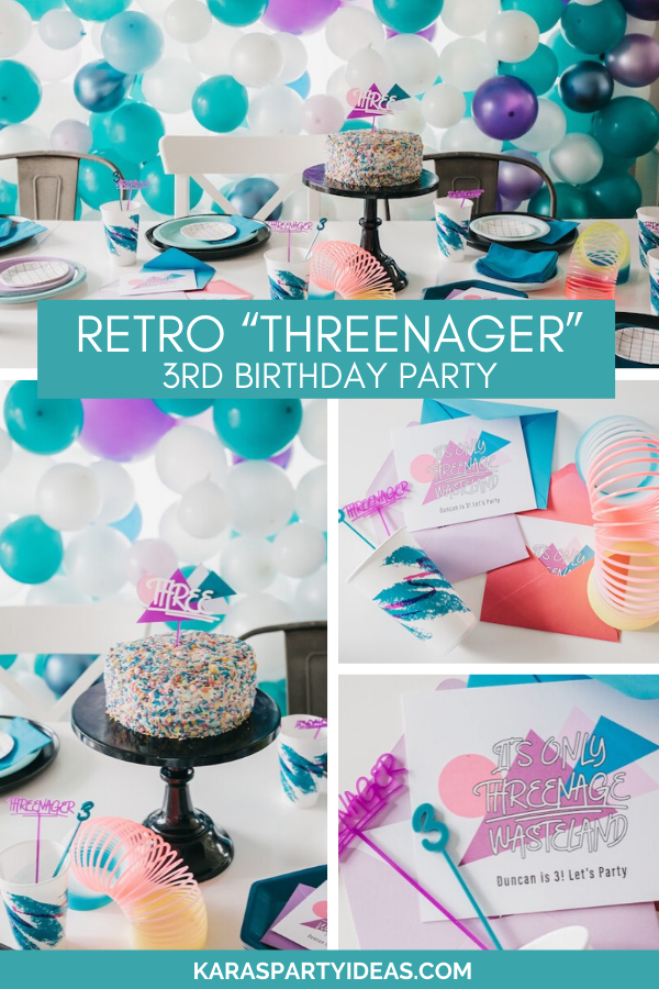 "Retro ""Threenager"" 3rd Birthday Party via Kara's Party Ideas - KarasPartyIdeas.com"