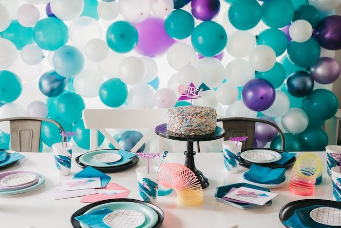"""Retro Themed Guest Table from a Retro """"Threenager"""" 3rd Birthday Party on Kara's Party Ideas 