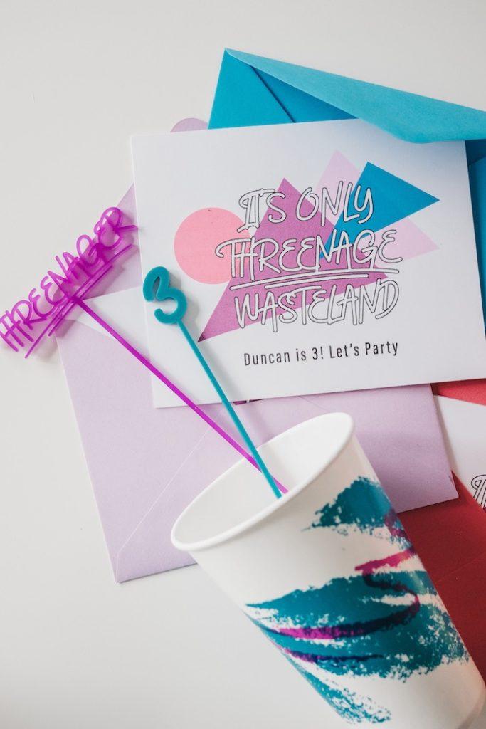 "Retro Party Invite from a Retro ""Threenager"" 3rd Birthday Party on Kara's Party Ideas | KarasPartyIdeas.com (14)"