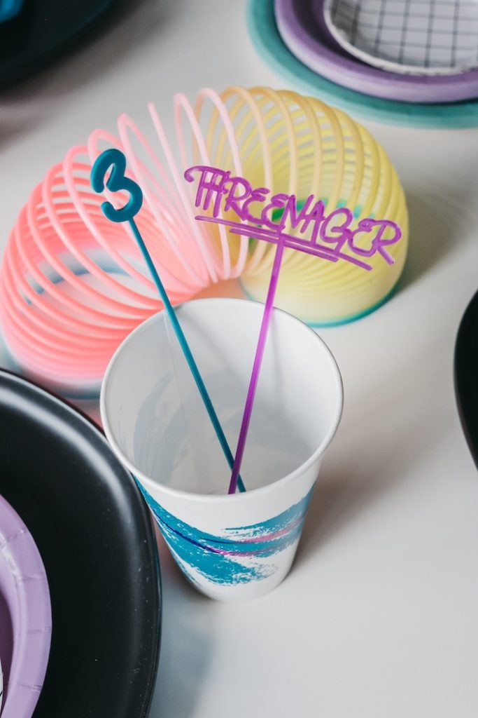 "Threenager Drink Stirrers from a Retro ""Threenager"" 3rd Birthday Party on Kara's Party Ideas 