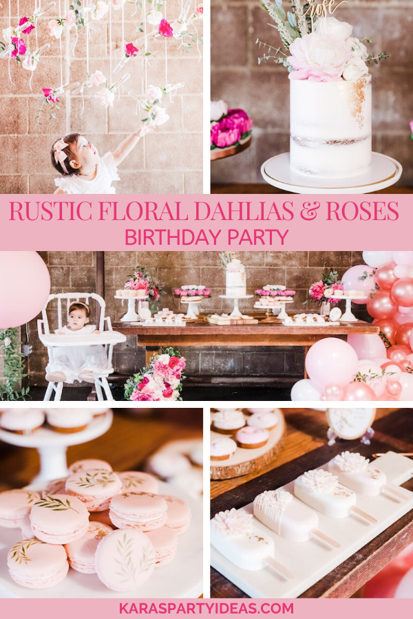 Rustic Floral Dahlias & Roses Birthday Party via Kara's Party Ideas - KarasPartyIdeas.com