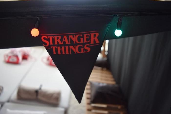 Stranger Things Pennant Banner from a Stranger Things Sleepover Party on Kara's Party Ideas   KarasPartyIdeas.com (16)