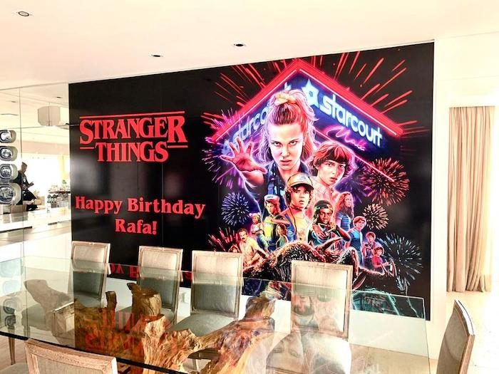 Stranger Things Happy Birthday Banner from a Stranger Things Sleepover Party on Kara's Party Ideas   KarasPartyIdeas.com (15)