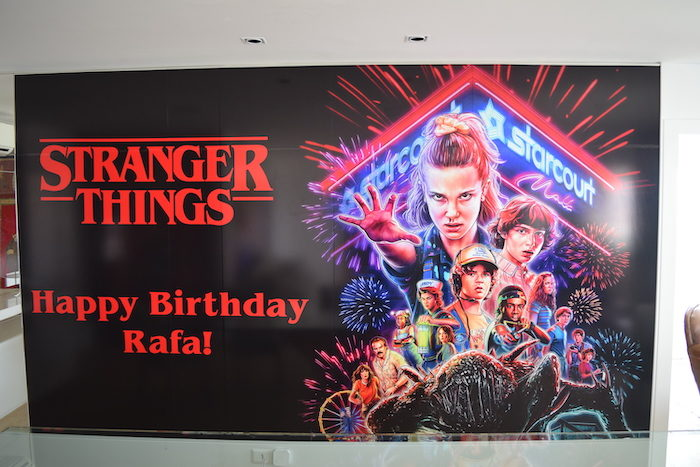 Stranger Things Happy Birthday Banner from a Stranger Things Sleepover Party on Kara's Party Ideas   KarasPartyIdeas.com (13)