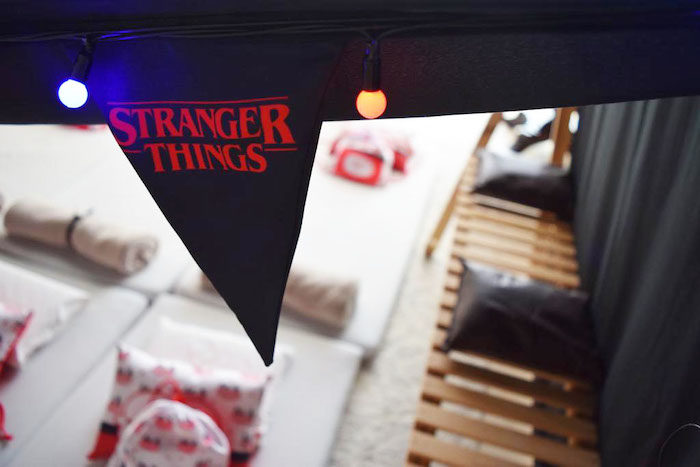 Stranger Things Pennant Banner from a Stranger Things Sleepover Party on Kara's Party Ideas   KarasPartyIdeas.com (12)