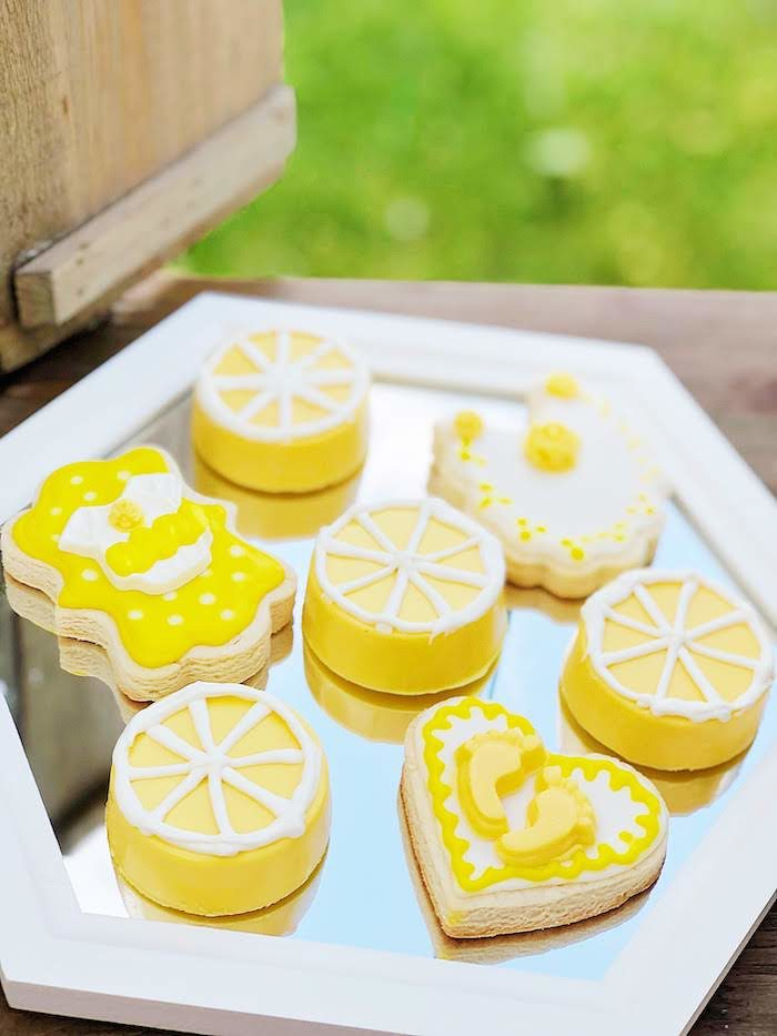 Lemon Themed Cookie Plate from a Summer Lemon Baby Shower on Kara's Party Ideas | KarasPartyIdeas.com (23)