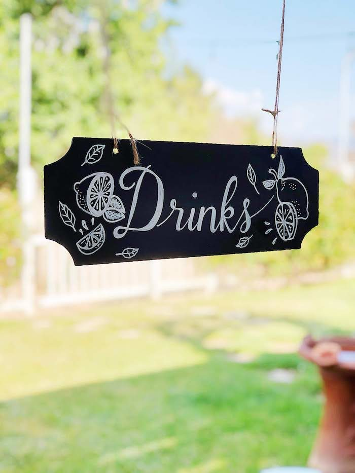 Chalkboard Drink Signage from a Summer Lemon Baby Shower on Kara's Party Ideas | KarasPartyIdeas.com (20)