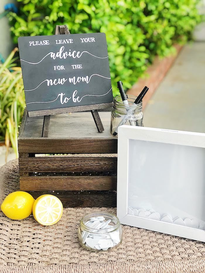 Advice Table from a Summer Lemon Baby Shower on Kara's Party Ideas | KarasPartyIdeas.com (18)