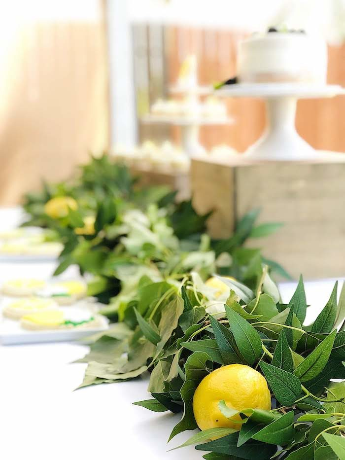 Lemon Leaf Garland from a Summer Lemon Baby Shower on Kara's Party Ideas | KarasPartyIdeas.com (33)