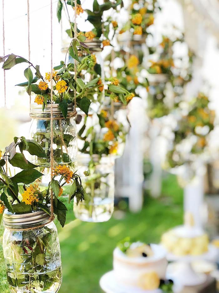 Hanging Mason Jar Blooms from a Summer Lemon Baby Shower on Kara's Party Ideas | KarasPartyIdeas.com (10)