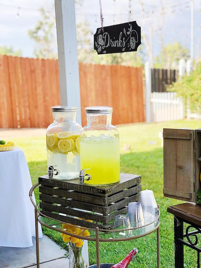 Drink Cart from a Summer Lemon Baby Shower on Kara's Party Ideas | KarasPartyIdeas.com (31)