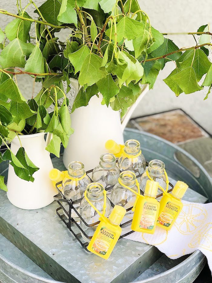 Lemon Verbena Beverage Bottles from a Summer Lemon Baby Shower on Kara's Party Ideas | KarasPartyIdeas.com (26)
