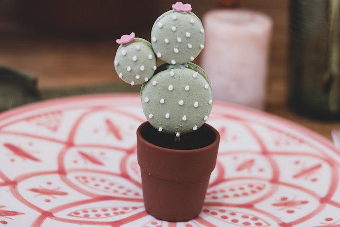 Macaron Cactus from a Terra Cotta Cactus Picnic Party on Kara's Party Ideas | KarasPartyIdeas.com (21)