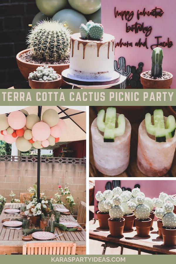 Terra Cotta Cactus Picnic Party via Kara's Party Ideas - KarasPartyIdeas.com