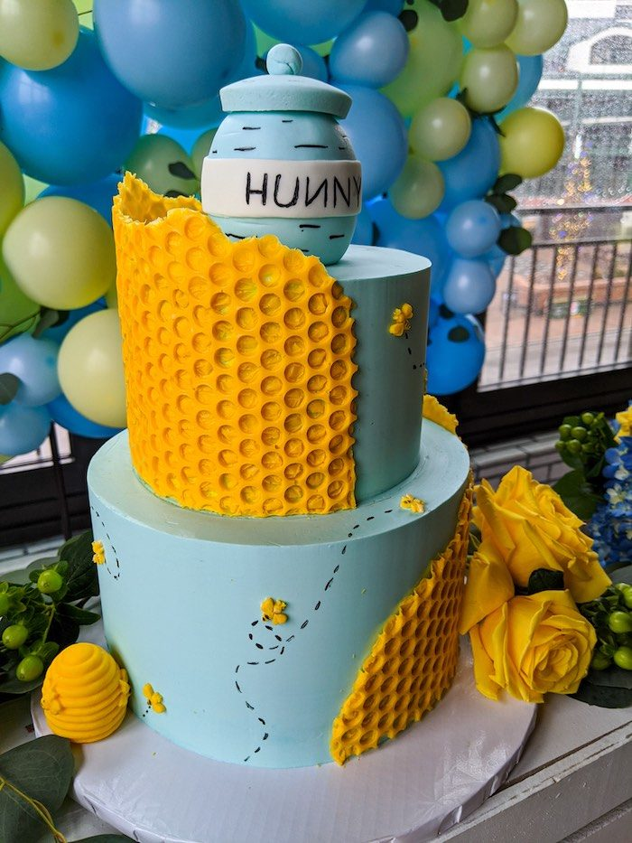Winnie the Pooh Honeycomb Cake from a Winnie the Pooh Baby Shower on Kara's Party Ideas | KarasPartyIdeas.com (13)