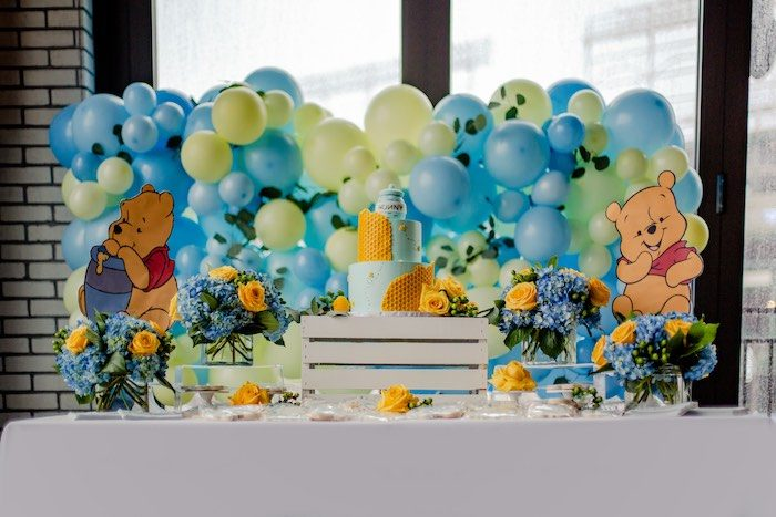 Winnie the Pooh Themed Dessert Table from a Winnie the Pooh Baby Shower on Kara's Party Ideas | KarasPartyIdeas.com (12)