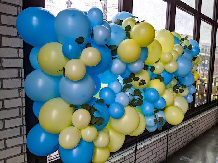 Yellow and Blue Balloon Backdrop from a Winnie the Pooh Baby Shower on Kara's Party Ideas | KarasPartyIdeas.com (11)