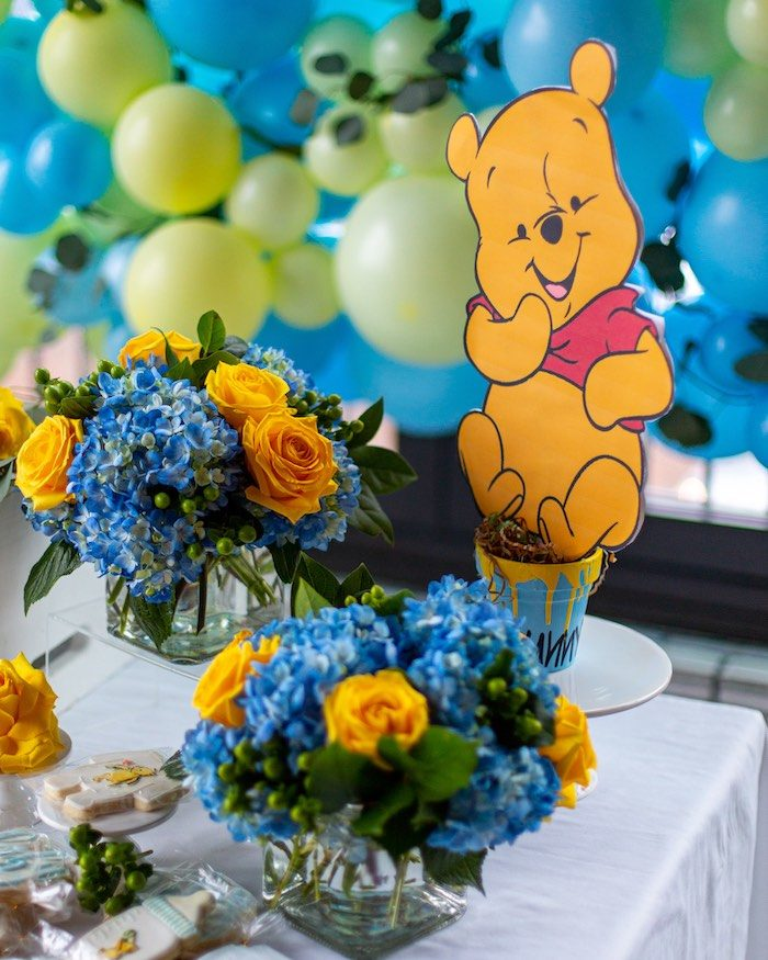 Yellow and Blue Blooms + Winnie the Pooh Standee from a Winnie the Pooh Baby Shower on Kara's Party Ideas | KarasPartyIdeas.com (10)