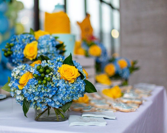 Yellow and Blue Blooms from a Winnie the Pooh Baby Shower on Kara's Party Ideas | KarasPartyIdeas.com (9)