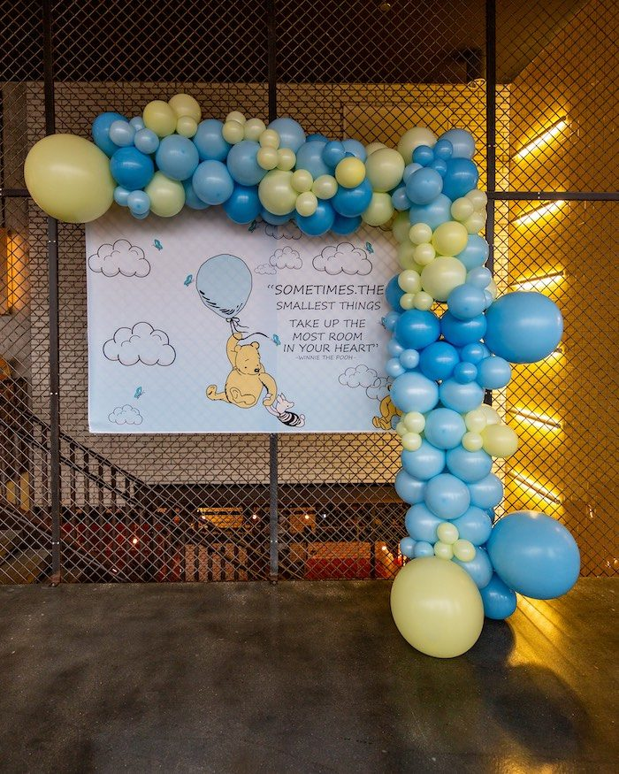 Winnie the Pooh Storybook Backdrop from a Winnie the Pooh Baby Shower on Kara's Party Ideas | KarasPartyIdeas.com (8)