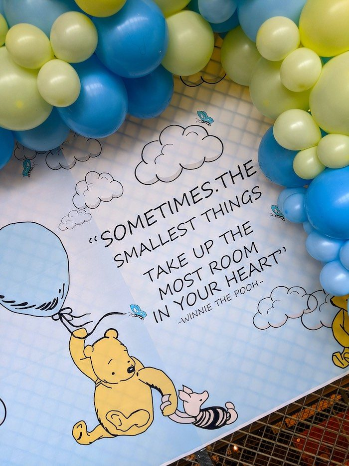 Backdrop from a Winnie the Pooh Baby Shower on Kara's Party Ideas | KarasPartyIdeas.com (6)