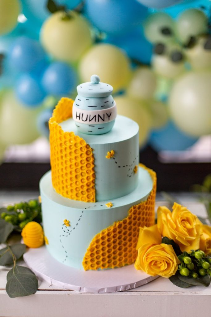Winnie the Pooh Honeycomb Cake from a Winnie the Pooh Baby Shower on Kara's Party Ideas | KarasPartyIdeas.com (18)