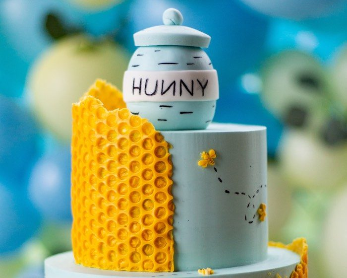 Hunny Jar Cake Top from a Winnie the Pooh Baby Shower on Kara's Party Ideas | KarasPartyIdeas.com (17)