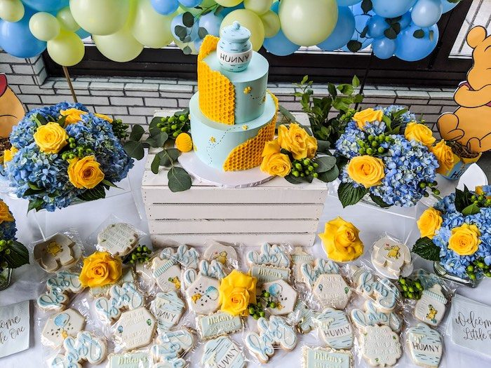 Winnie the Pooh Themed Cookies + Dessert Table from a Winnie the Pooh Baby Shower on Kara's Party Ideas | KarasPartyIdeas.com (15)
