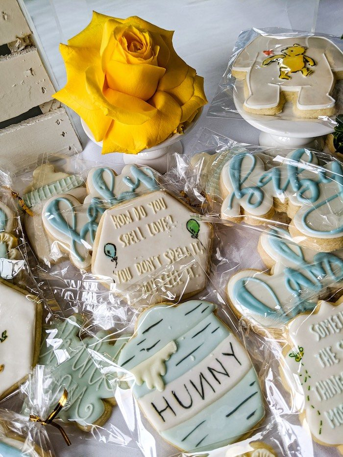 Winnie the Pooh Themed Cookies from a Winnie the Pooh Baby Shower on Kara's Party Ideas | KarasPartyIdeas.com (14)