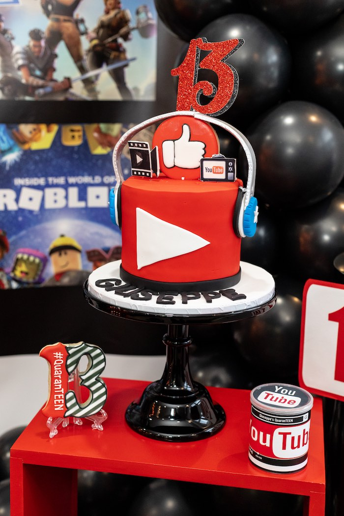 YouTube Themed Cake from a YouTube Inspired QuaranTEEN 13th Birthday Party on Kara's Party Ideas | KarasPartyIdeas.com (28)