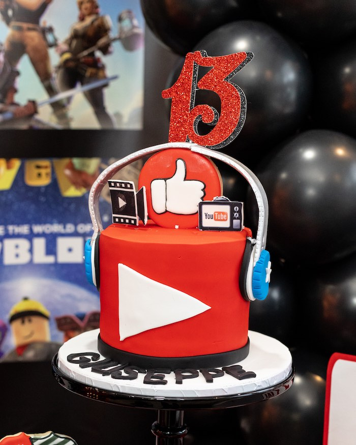 YouTube Themed Cake from a YouTube Inspired QuaranTEEN 13th Birthday Party on Kara's Party Ideas | KarasPartyIdeas.com (27)