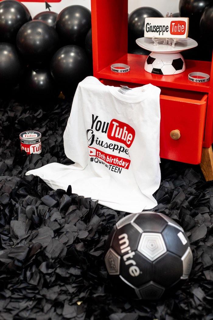 Custom YouTube T-shirt from a YouTube Inspired QuaranTEEN 13th Birthday Party on Kara's Party Ideas | KarasPartyIdeas.com (26)