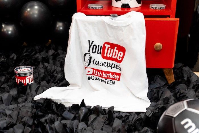 Custom YouTube T-shirt from a YouTube Inspired QuaranTEEN 13th Birthday Party on Kara's Party Ideas | KarasPartyIdeas.com (25)