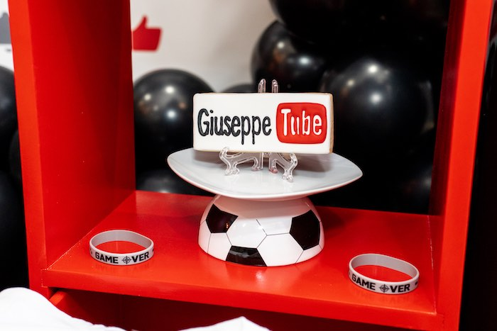 Personalized YouTube Inspired Cookie from a YouTube Inspired QuaranTEEN 13th Birthday Party on Kara's Party Ideas | KarasPartyIdeas.com (24)