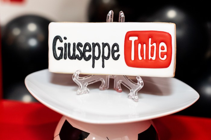 Personalized YouTube Inspired Cookie from a YouTube Inspired QuaranTEEN 13th Birthday Party on Kara's Party Ideas | KarasPartyIdeas.com (23)
