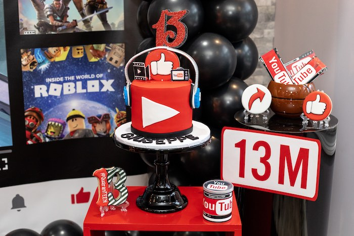 YouTube Themed Cake from a YouTube Inspired QuaranTEEN 13th Birthday Party on Kara's Party Ideas | KarasPartyIdeas.com (21)