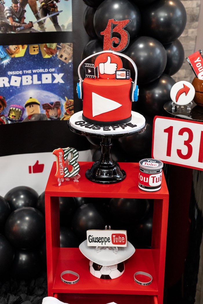 Cake Table from a YouTube Inspired QuaranTEEN 13th Birthday Party on Kara's Party Ideas | KarasPartyIdeas.com (20)