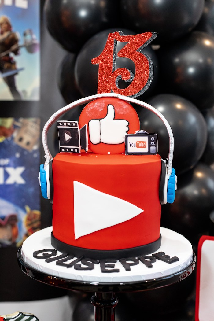 YouTube Themed Cake from a YouTube Inspired QuaranTEEN 13th Birthday Party on Kara's Party Ideas | KarasPartyIdeas.com (19)