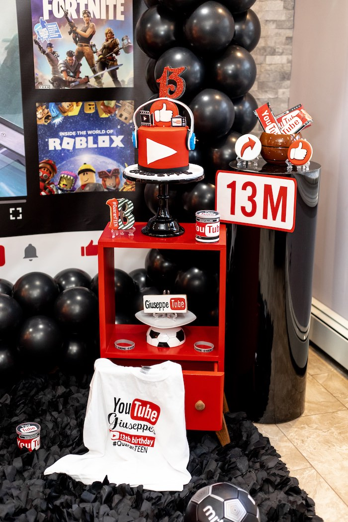 Cake Table from a YouTube Inspired QuaranTEEN 13th Birthday Party on Kara's Party Ideas | KarasPartyIdeas.com (15)