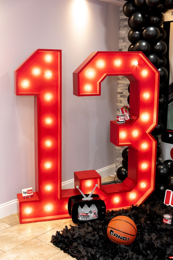 Giant Number 13 Marquee Lights from a YouTube Inspired QuaranTEEN 13th Birthday Party on Kara's Party Ideas | KarasPartyIdeas.com (11)