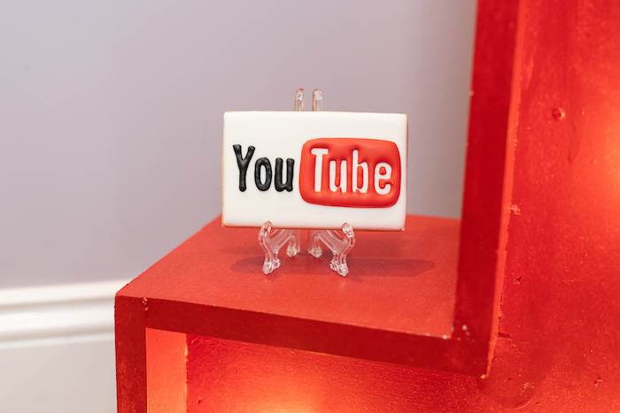 YouTube Cookie from a YouTube Inspired QuaranTEEN 13th Birthday Party on Kara's Party Ideas | KarasPartyIdeas.com (36)