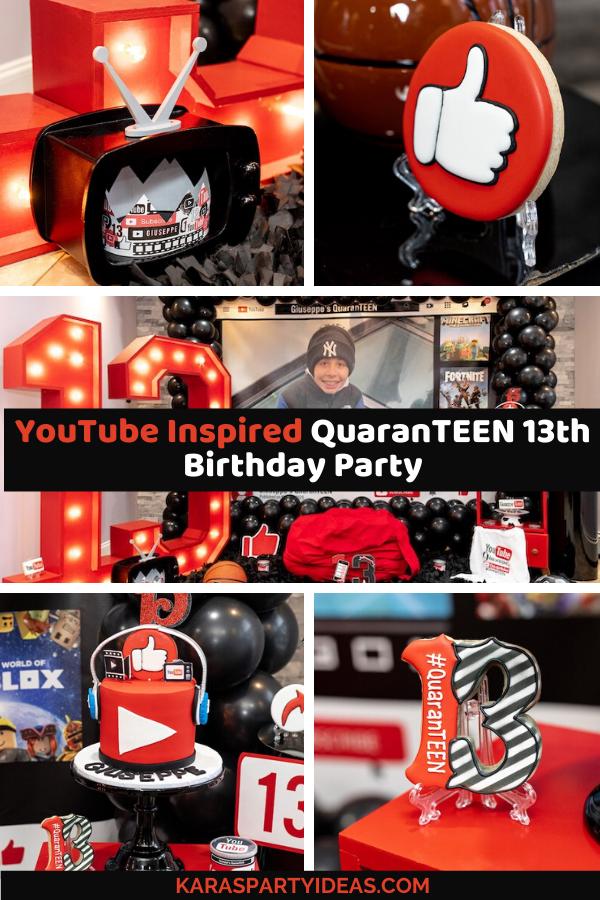 YouTube Inspired QuaranTEEN 13th Birthday Party via Kara's Party Ideas - KarasPartyIdeas.com