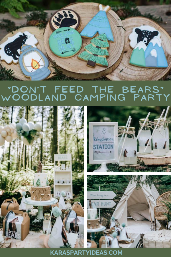 """Don't Feed the Bears"" Woodland Camping Partyvia Kara's Party Ideas - KarasPartyIdeas.com"